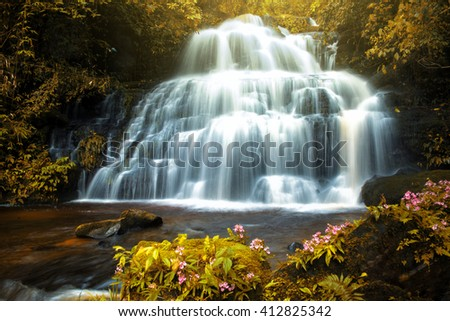 Waterfall made with color filter - stock photo