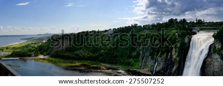 waterfall, Monmorensy waterfall, QC, Quebec, Canada - stock photo