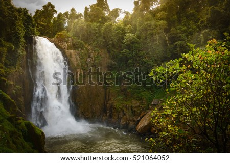 "Waterfall names ""Haew Narok"" in rainforest at KHAO YAI national park, Thailand."