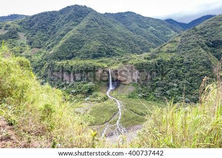 Waterfall near Banos, Ecuador - stock photo