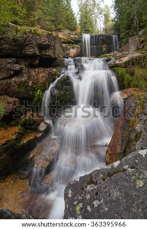 Waterfall on Jedlova creek in Jizera mountains - stock photo