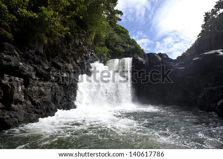 Waterfall on Mauritius island - stock photo