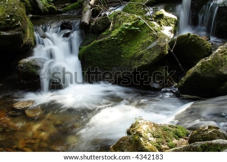 waterfall on mountains river by name Bila Opava at Mountains Jesenik at Czech republic at Europe - stock photo