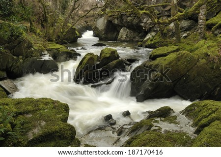 Waterfall on the Marteg River at Gilfach Farm nr. Rhayader
