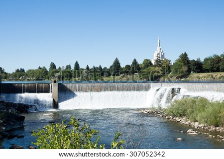 Waterfall on the Snake River in central city  Idaho Falls - stock photo