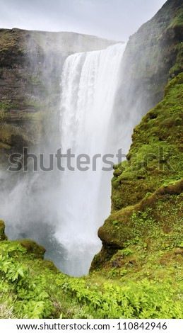 Waterfall Skogafoss, Iceland - stock photo