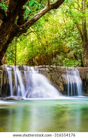 Waterfall soft tropical rain forest in national park, Huay mae kamin, kanchanaburi