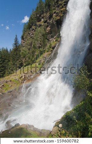 Waterfall Stuibenfall in the valley of Otztal, Tirol, Austria.