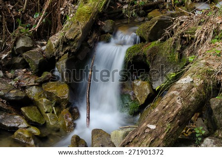 Waterfall with branches