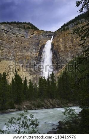 Waterfall  - Yoho Park Waterfall at Yoho Park, AB, Canada - stock photo