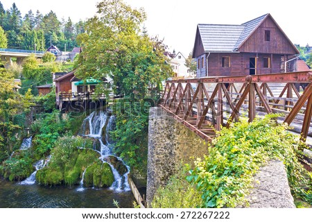 Waterfalls and architecture of Rastoke river village, Croatia - stock photo