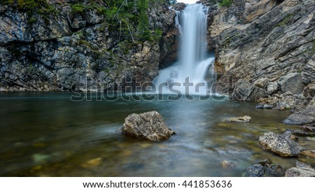 Waterfalls and Rocky Pond - A wide-angle view of  Running Eagle Falls and its rocky pond at Two Medicine Valley region of Glacier National Park, Montana, USA. - stock photo