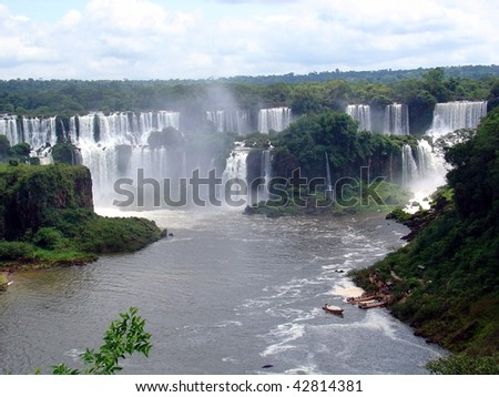 Waterfalls in Argentina and Brazil - stock photo