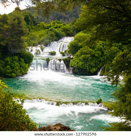 Waterfalls in Krka National Park, Croatia - stock photo