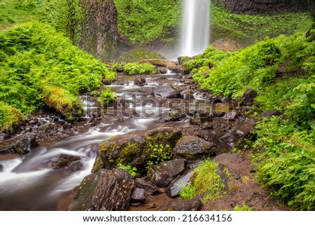 Waterfalls in the Columbia River Gorge near Portland Oregon.   - stock photo