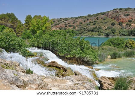"Waterfalls in the he spanish national park ""Lagunas de Ruidera"" - stock photo"