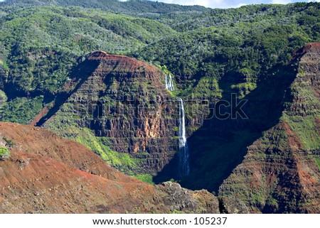 Waterfalls in Waimea Canyon #1 - Kauai, Hawaii - stock photo