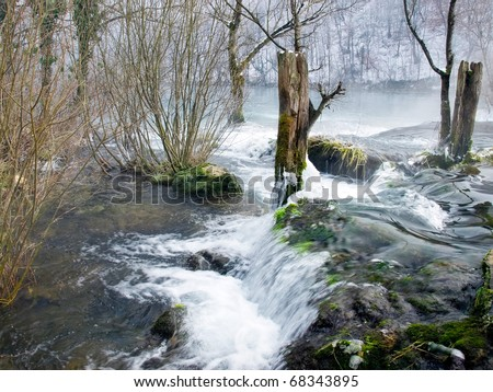 Waterfalls on a small mountain river called Mreznica, Croatia - stock photo