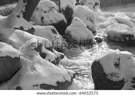 Waterfalls with Snow and Rocks in Black and White