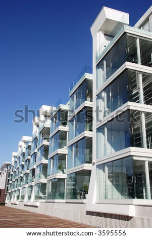 Waterfront aparment complex in Auckland, New Zealand - stock photo