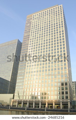 Waterfront buildings at Canary Wharf in London, England - stock photo