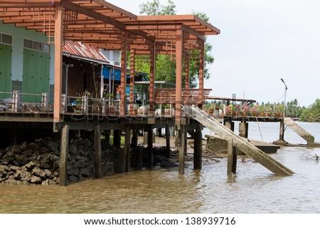 Waterfront home,Ampawa, Thailand - stock photo