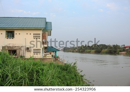 Waterfront home ayutthaya in thailand - stock photo