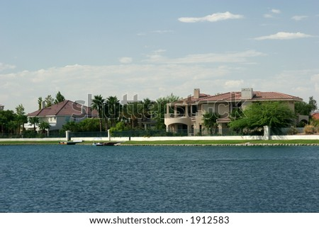 Waterfront homes - stock photo