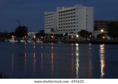 Waterfront hotel - stock photo