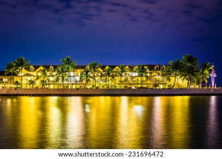 Waterfront hotel at night, in Key West, Florida. - stock photo