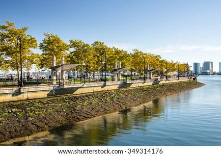 Waterfront Park in Autumn. Boston, USA - stock photo