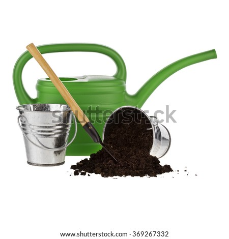 watering can, bucket, shovel, soil isolated on white background