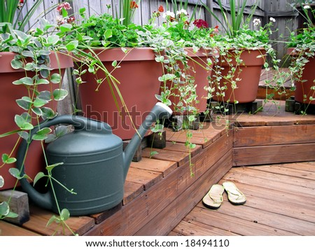 watering can by flower pots on wooden deck - stock photo