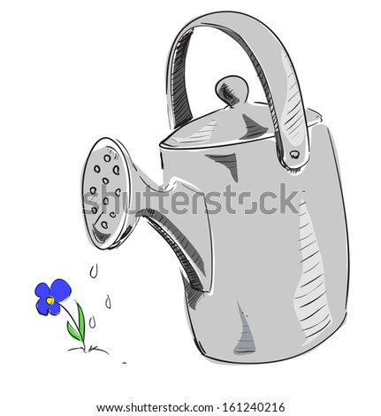 Watering can cartoon icon.  - stock photo