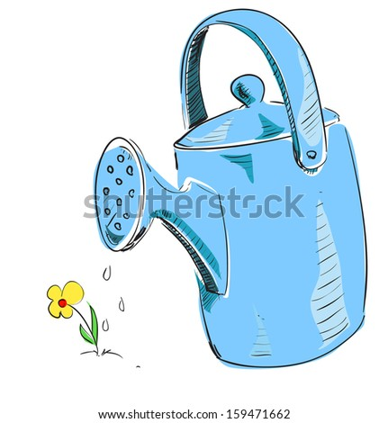 Watering can cartoon icon. Sketch fast pencil hand drawing illustration in funny doodle style. - stock photo