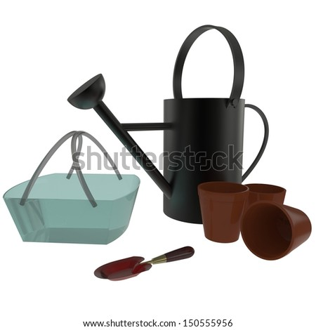 Watering can with gardening tools
