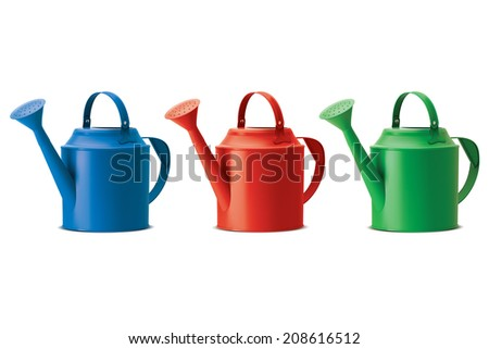 Watering cans set. Isolated. Illustration