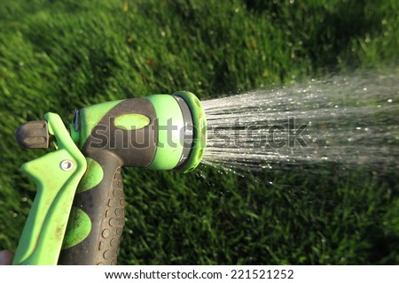 Watering fresh green lawn grass with an adjustable shower (spray) in the summer garden