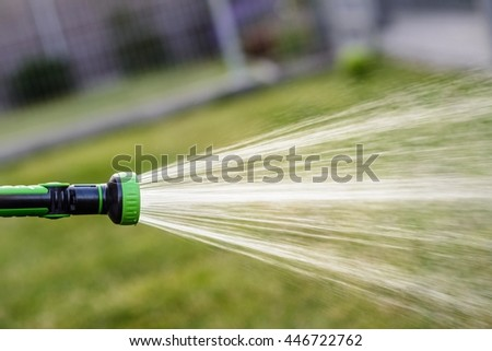 Watering lawn in garden. Summer gardening. Sunny day