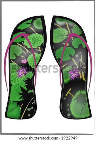 Waterlily Flip Flops - stock photo