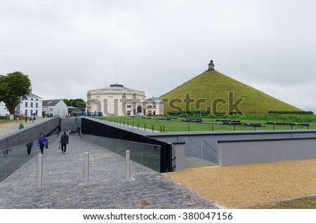 Waterloo, Belgium - July 13, 2015: Unknows visitors at the entrance of the Waterloo memorial