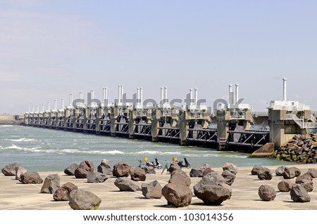 watermanagement. storm barrier Neeltje Jans - stock photo