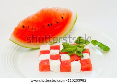 watermelon and feta - stock photo