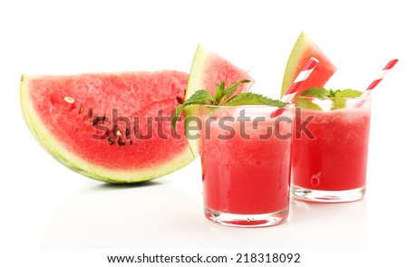 Watermelon cocktail isolated on white - stock photo