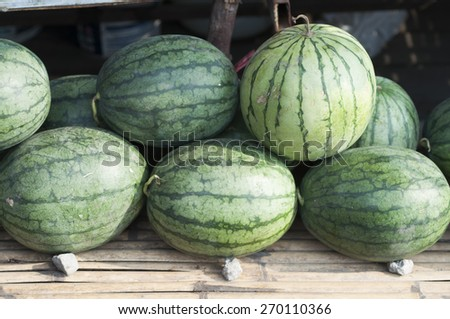 watermelon group from a marketplace - stock photo