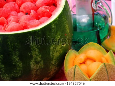 Watermelon party to celebrate summer with fresh mint and melon drink watermelon sliced 1 - stock photo