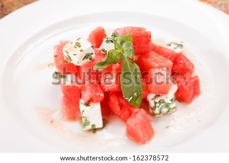 watermelon salad with feta cheese with and basil