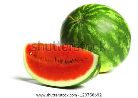 watermelon slice isolated on white - stock photo