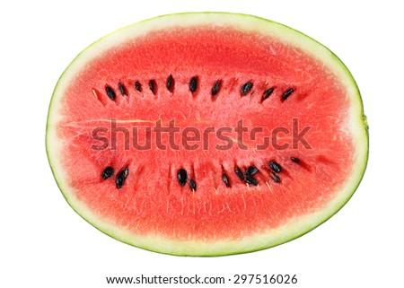 Watermelon slice isolated on white background - stock photo