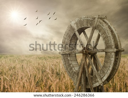 Watermill and Wheat farm - stock photo